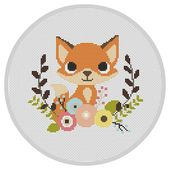 Fox Nursery Child Cross Sew Sample Fashionable Cross Sew Sample Crimson fox PDF Nursery Woodland animals Embroidery sample X100