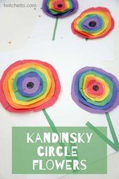 Wie man Kandinsky inspiriert, Regenbogen Kreis Blumenkunst mit Kindern #Twitchetts – Projectgardendiy.club
