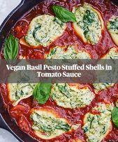 Basil Pesto Stuffed Shells in Tomato Sauce