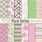 DIY Present Spring Paper Vintage Paper Spring Pattern Printable Botanical Baby Shower Gift Digital Paper Pack Nursery Wallpaper