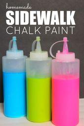 Homemade Sidewalk Chalk Paint! Easy DIY Crafts for Summer! Love this idea for ki…   – Sidewalk chalk art