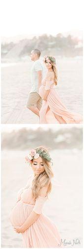 Boho Mutterschaft Fotoshooting am Strand von Miranda North   – babybump