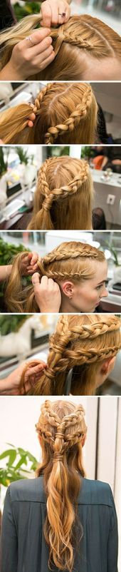 haare flechten – lange, blonde haare, alltagsfrisur mit zöpfen – Haarfrisuren