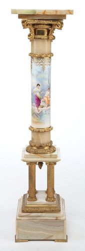 A FRENCH PAINTED PORCELAIN, GILT BRONZE AND ONYX P…