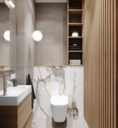 Photo of Toilet design with wood and marble – #wood #wood look # marble #with #and #WCDesign