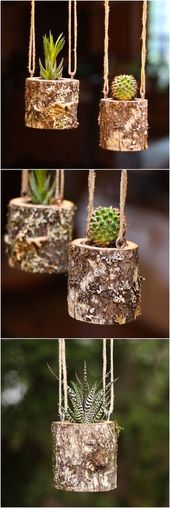 House Warming Gift Planter Hanging Planter Indoor Rustic Hanging Succulent Plant…