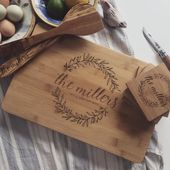 Engraved Cutting Board Set: Personalized Wedding Gift Idea, Engagement Gift, or Housewarming Gift with a Personal Touch