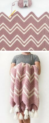 Free Instructions – Crochet Pink Chevron Throw Knitted Ideas