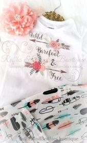 Wilde Barfuß und kostenlose Boho Baby Strampler / Shirt – Böhmisches Baby – Baby Boho Shirt – Wild & Free Shirt – Pfeil Baby Shirt   – Baby girl clothes