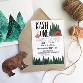 Boy Camping Invitation | Tent Camping Birthday Invite Camp Out Hiking Part Outdoors Party Boy Sleepover Party Woodland Lumberjack Birthday