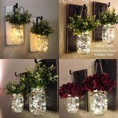 Wohnkultur, Set von 2 Einmachglas Wandleuchten, hängende Einmachglas Wandleuchte, Einmachglas Dekor, Wandleuchte, rustikale Wohnkultur, Einmachglas Wandleuchte mit Blumen   – Wohnzimmer