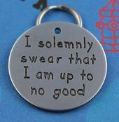 Large Funny Pet Tag Custom Engraved Dog Tag I Solemnly Swear