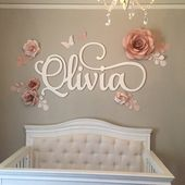 Paper Flowers Wall Decor – Nursery Paper Flowers & Sleepy Eyes Decor – Nursery Paper Flowers