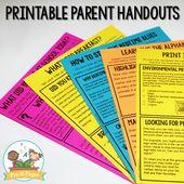 Preschool Parent Handouts Learning at Home  – kinder