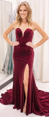 Gorgeous Sweetheart Mermaid Burgundy Long Evening Dress with Slit