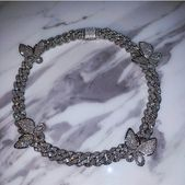 Chic Silver Tone Iced Out Rhinestone Colorful Butterfly Choker Necklace