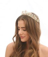 Vintage Wedding Crown with Blush Pink Flowers Beaded Tiara Bridal Vintage Beaded Crown Wedding Hair Accessory in Gold or Silver