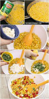 Easy Corn Salad Recipe with Feta, Basil & Tomatoes