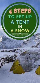 4 steg för att sätta upp ett tält i en snö – # steg – # tältCamping # set #snow #steps #ten …