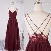 Brautjungfer Kleid Wein Chiffon-Kleid, Brautkleid, Spaghetti-Trägern Abendkleid