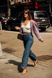 Jeanne Damas: lilac cardigan, white cropped prime, denims, golden sandals #trend