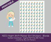NICU Nurse Night Shift Planner Girl Sticker, Blonde, Printable Stickers, Planner Stickers, Happy Planner, Erin Condren, PDF Digital Download