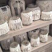 Cranking out macrame jars for my show in October. It's gonna be here before …