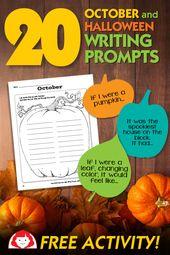 Halloween Creative Writing Prompts and free pumpkin printable