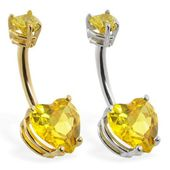 14K Solid Gold Bauchring mit Citrin Doppelherz, Gelb-, Weiß- oder Roségold   – Products