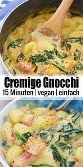 Vegane Gnocchi mit cremiger Spinatsauce   – Clean Eating – Rezepte