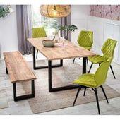 Design Sitzgruppe mit Baumkante hellgrünen Stühlen (6-teilig) MassivioMassivio   – Products