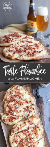 Tarte Flambe or Flammkuchen is a 'white pizza' popular in Alsace Rheinland and B…