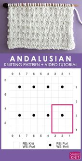 How to Knit the Andalusian Knit Stitch Pattern
