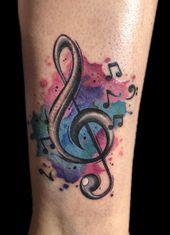 @westend_tattoo #westendtattooandpiercing #tattoo #violin key tattoo #watercolor…  – Tattoo-Ideen