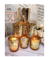Set van 24 Mercury Glass Gold theelichthouders kaarsen huwelijk decoratie