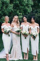 Elegant White Off the Shoulder Split Ankle Length Sheath Bridesmaid Dresses BD1023