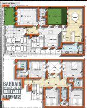 مخطط كل يوم مخطط فيلا مساحة الأرض 240 مساحة الدور الارضي 150 موقع المخطط البحرين الفكرة الرئيسية عمل كو Dream House Floor Plans House