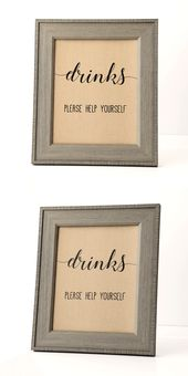 Drinks Baby Shower Sign, Baby Shower Please Help Yourself to a Drink, Baby Shower Sign
