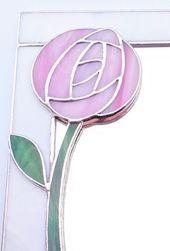 """Miroir mural Art Nouveau 10×8 """"avec rose Glasgow Rose. Vitraux décoratifs de style écossais Mackintosh pour les fiançailles d'anniversaire de mariage   – CROchet """"Розы макинтоша"""""""