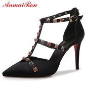 ANMAIRON Basic Super Thin Heels zapatos de mujer moda 2018 vestido microfibra punta puntiaguda mujer bombas tamaño 34-39 LY673   – Обувь