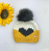 Knit Beanie with Removable Faux Fur Pom Pom – Chunky Knit Hat – Big Heart Beanie – All Sizes – Gift for Her –