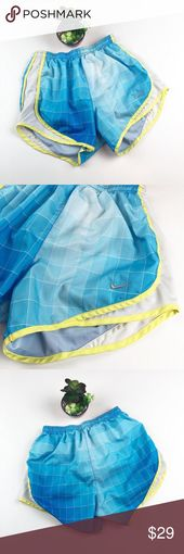 Nike Tempo Blue White Lime Plaid Short Small Good condition  Some wear on gusset…