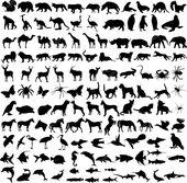 125 siluetas de diferentes animales de alta calidad – vector
