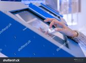 Education Technology Concept Woman Using Interactive Stock Photo (Edit Now) 1550111108