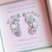 Button Footprints ~ Button Art ~ Baby Boy Gift ~ Boys Bedroom Decor ~ New Baby Gift ~ Personalized Baby Gift ~ Christening Gift