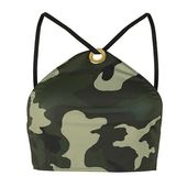 Camouflage-Bikinioberteil mit hohem Kragen von Jaded London (39 $) ❤ gefällt auf Polyvore …