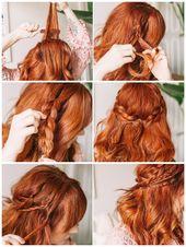 locken frisuren halblang, rote haare, haarfarbe kupfer, zopf flechten, einfache … – Haarfrisuren