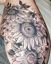 Obsessed  #tattoo #sunflower #sunflowertattoo #bouquet #nofilter