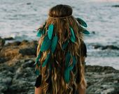 Needlework, needlework, headband, small, hair band, gray, braids, pink, feathers headdress, boho style, bohochic, gypsy, hippie, indian