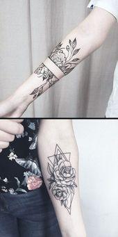 Geometrische Diamond Rose Forearm Tattoo-Ideen für Frauen – Black Wild Flower V…